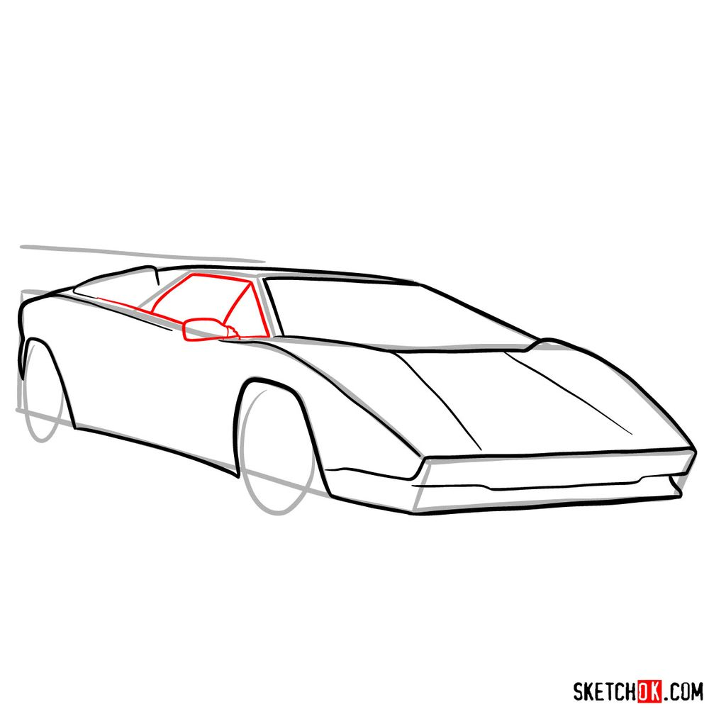 How to draw Lamborghini Countach - step 08