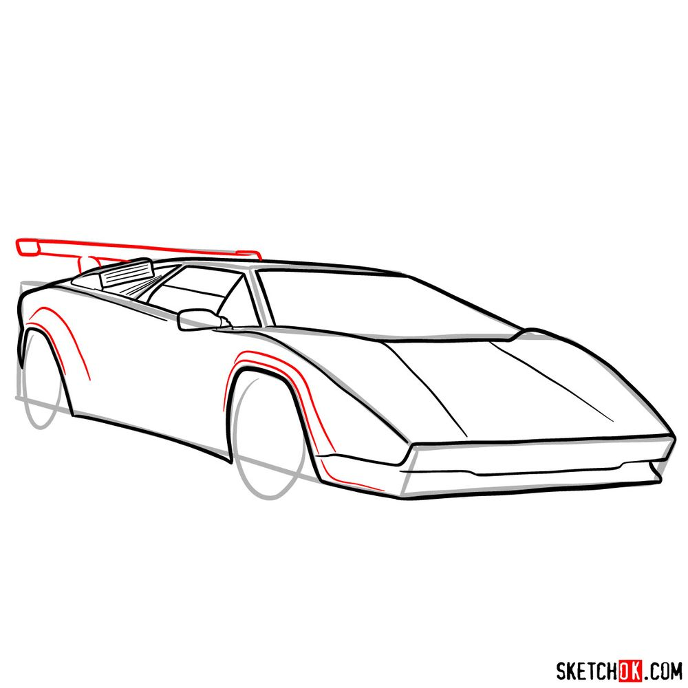 How to draw Lamborghini Countach - step 10