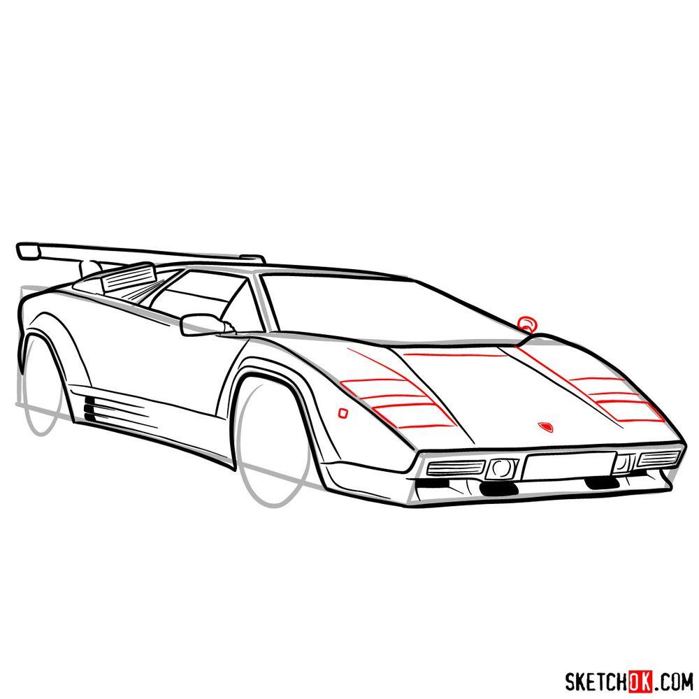 How to draw Lamborghini Countach - step 12