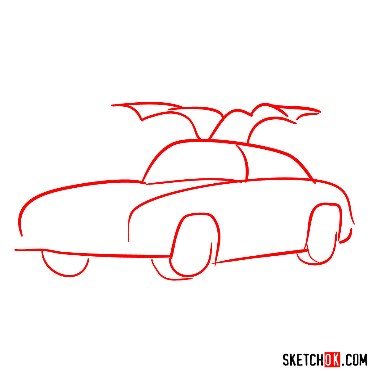 How to draw Mercedes-Benz 300SL Gullwing- - step 01