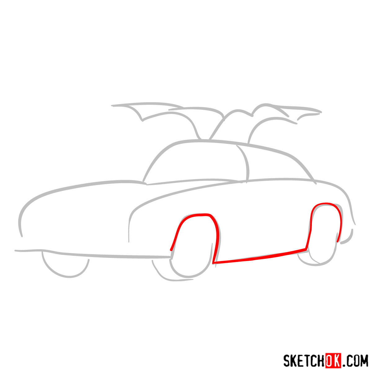 How to draw Mercedes-Benz 300SL Gullwing- - step 02