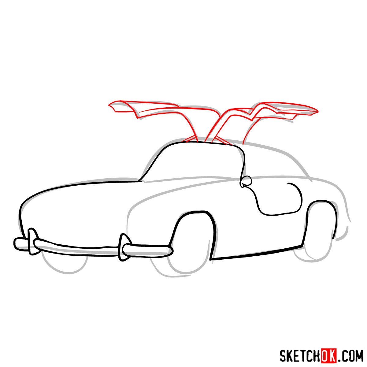 How to draw Mercedes-Benz 300SL Gullwing- - step 06