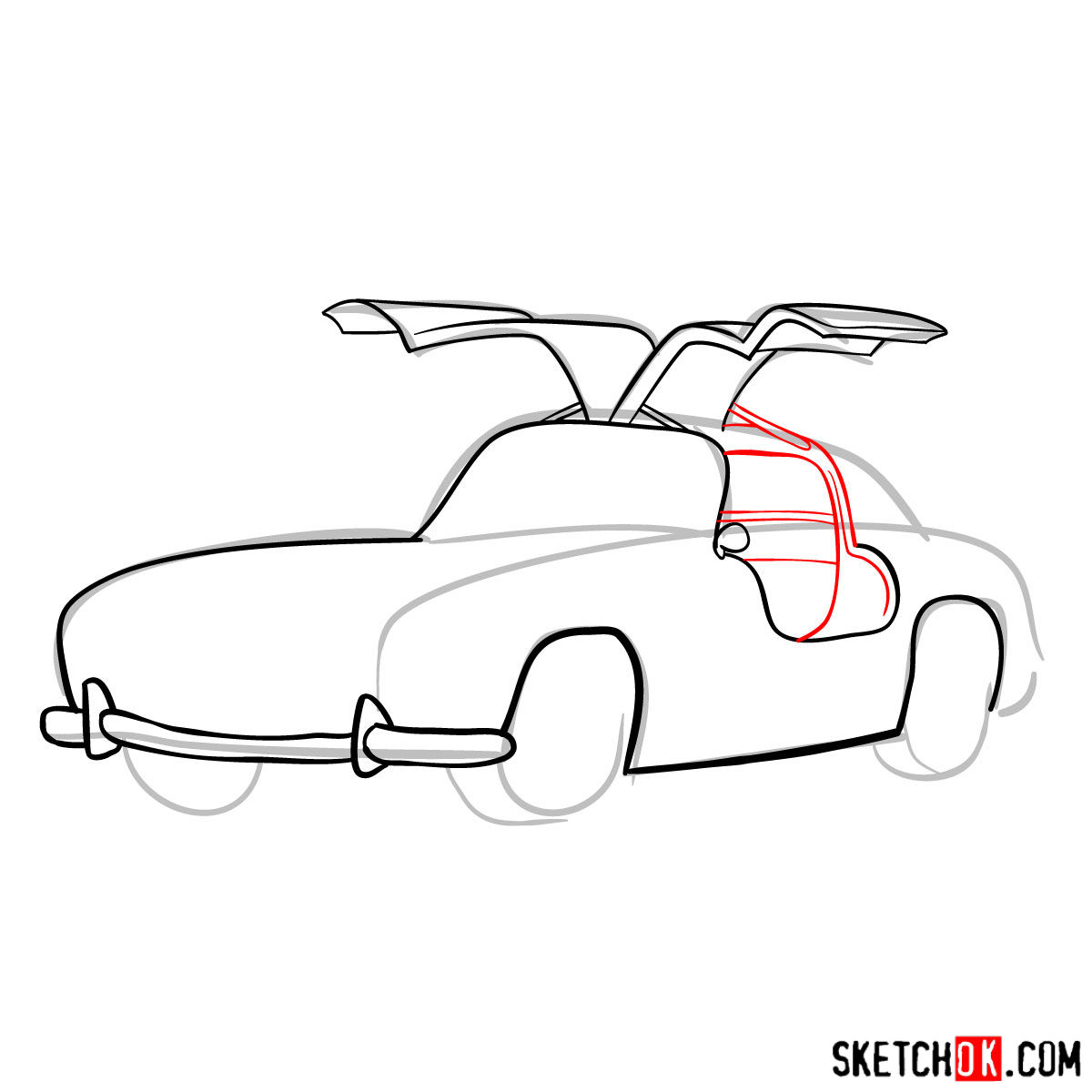 How to draw Mercedes-Benz 300SL Gullwing- - step 07