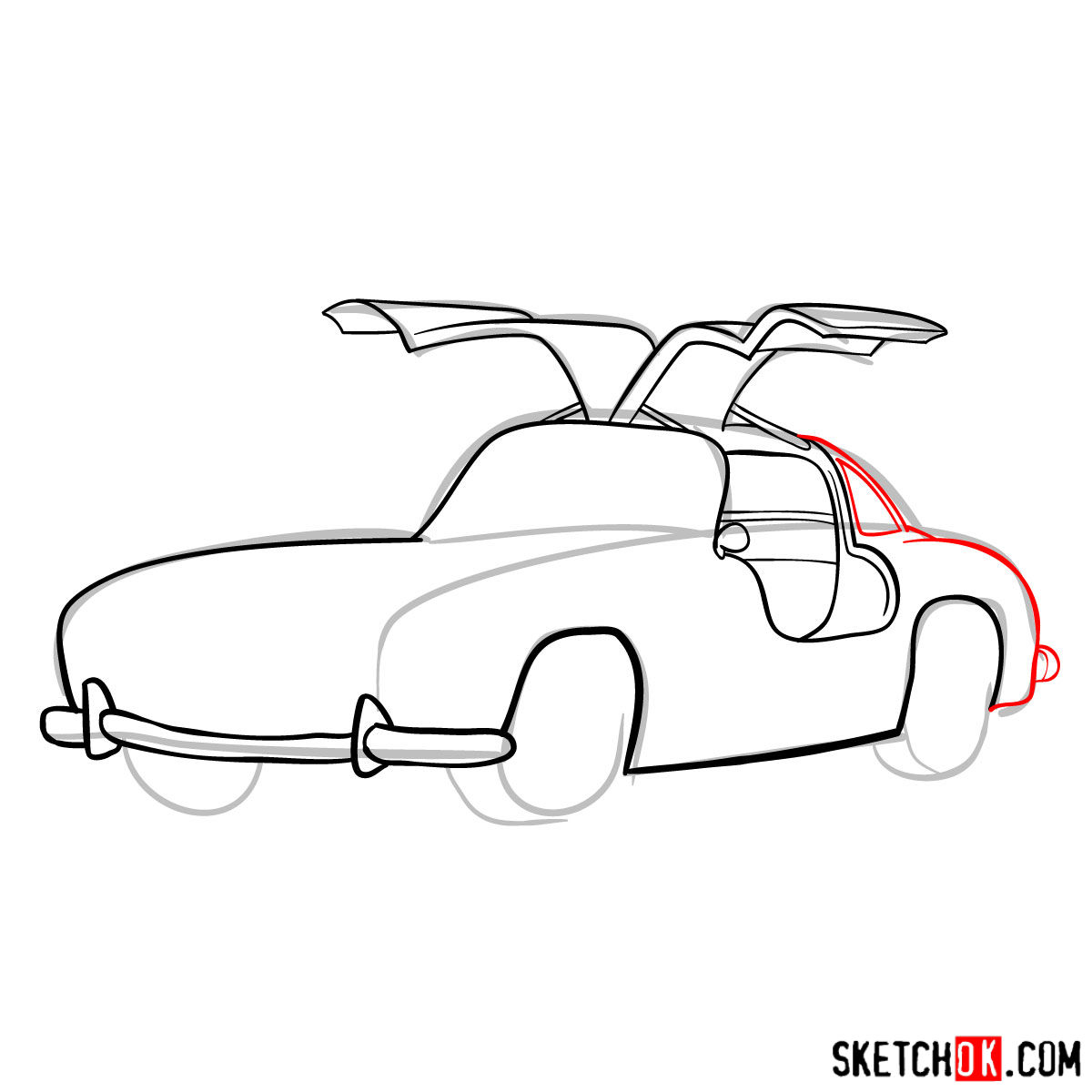 How to draw Mercedes-Benz 300SL Gullwing- - step 08