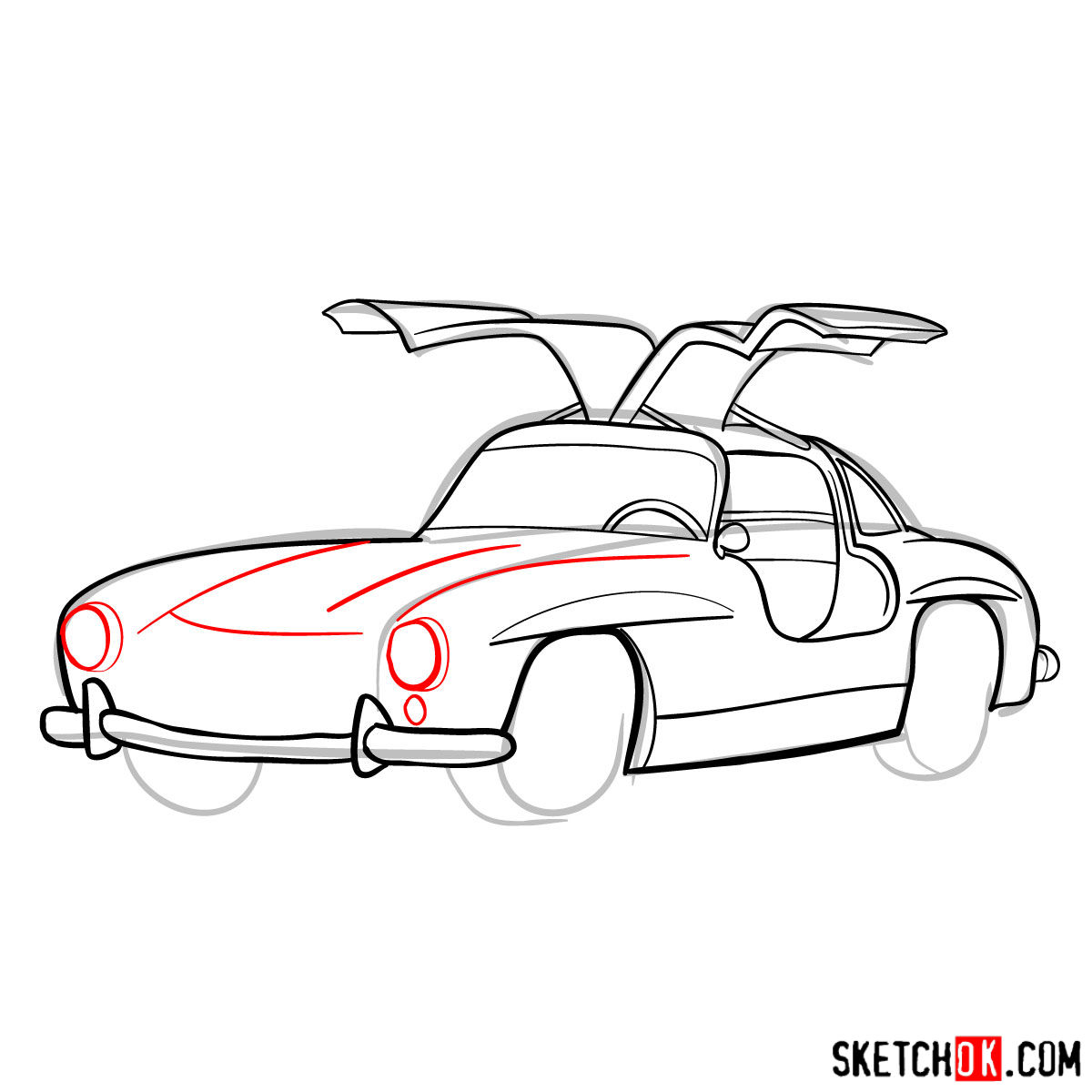How to draw Mercedes-Benz 300SL Gullwing- - step 10