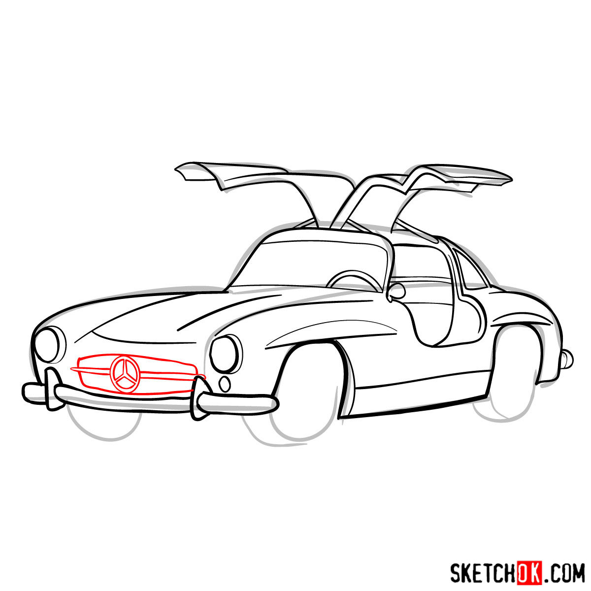 How to draw Mercedes-Benz 300SL Gullwing- - step 11