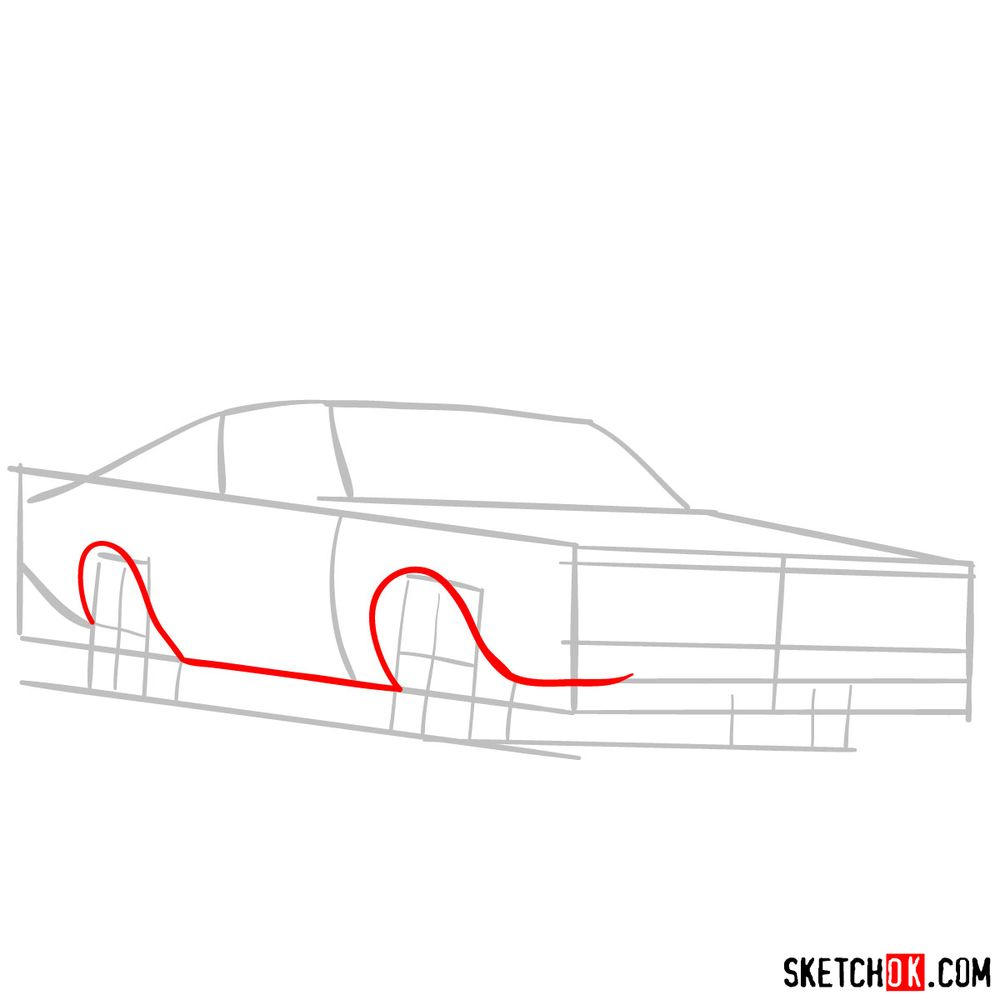 How to draw Dodge Charger RT L69 (1971) - step 03