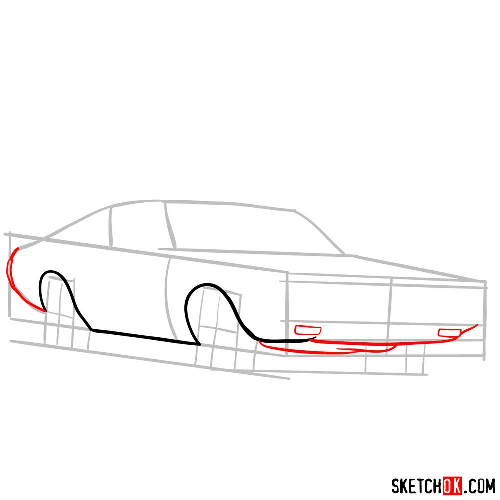 How to draw Dodge Charger RT L69 (1971) - step 04