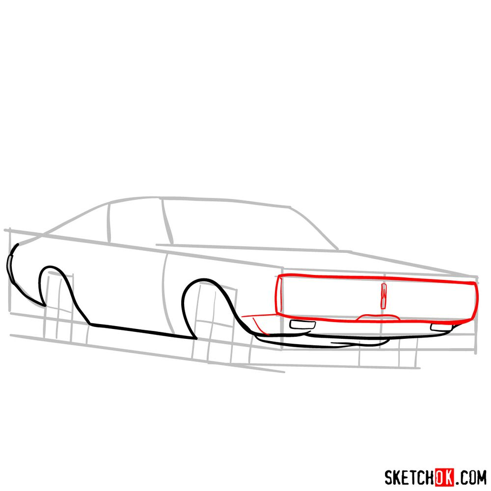 How to draw Dodge Charger RT L69 (1971) - step 05