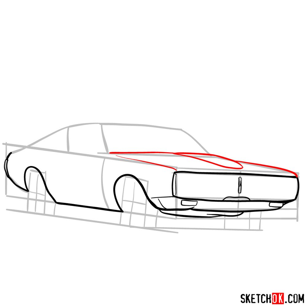 How to draw Dodge Charger RT L69 (1971) - step 06