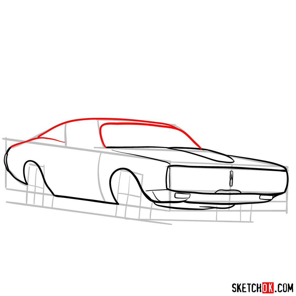 How to draw Dodge Charger RT L69 (1971) - step 07