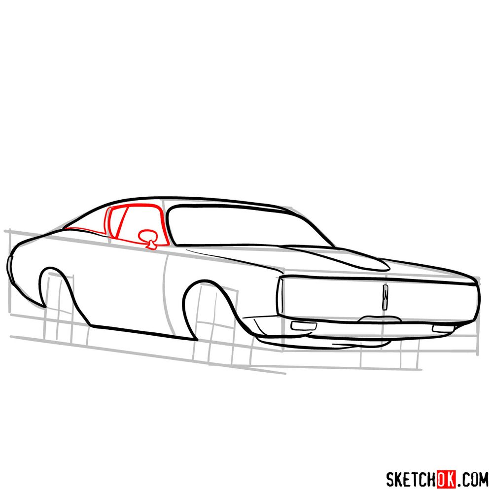 How to draw Dodge Charger RT L69 (1971) - step 08