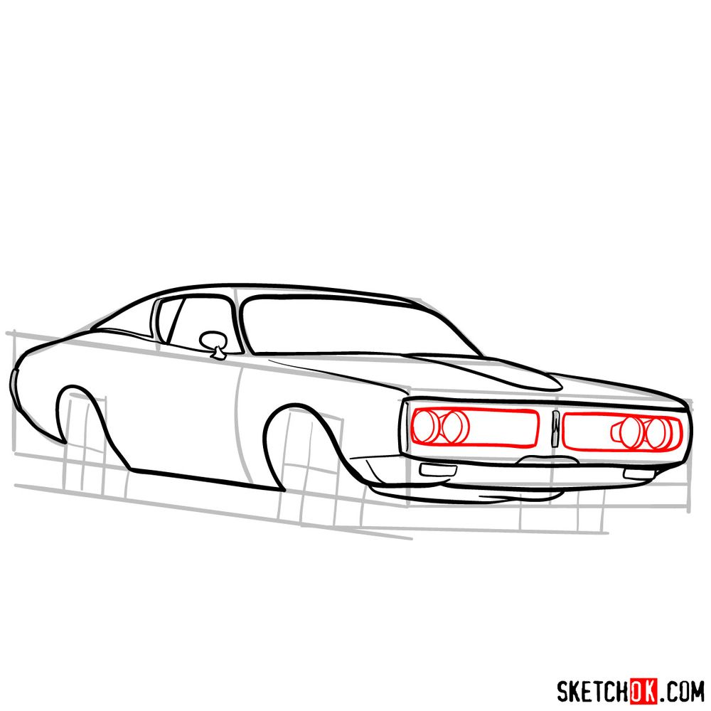 How to draw Dodge Charger RT L69 (1971) - step 09