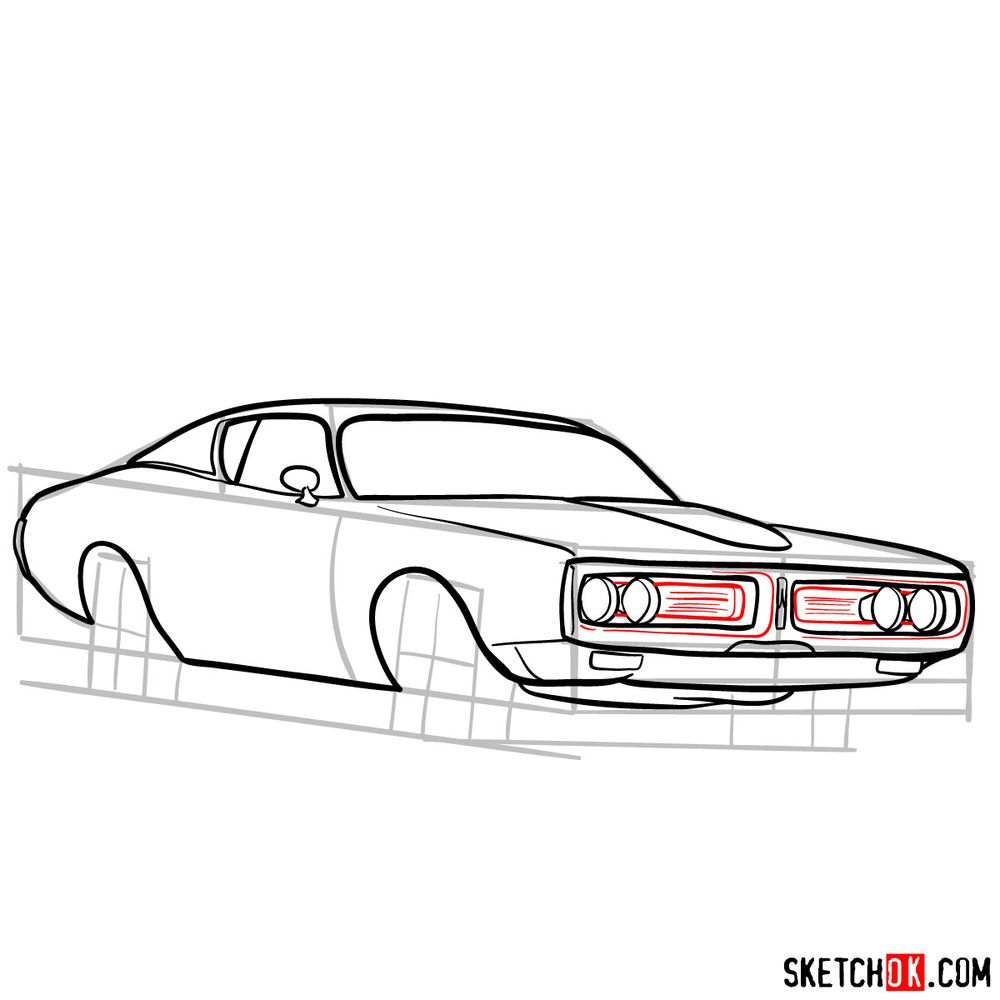 How to draw Dodge Charger RT L69 (1971) - step 10