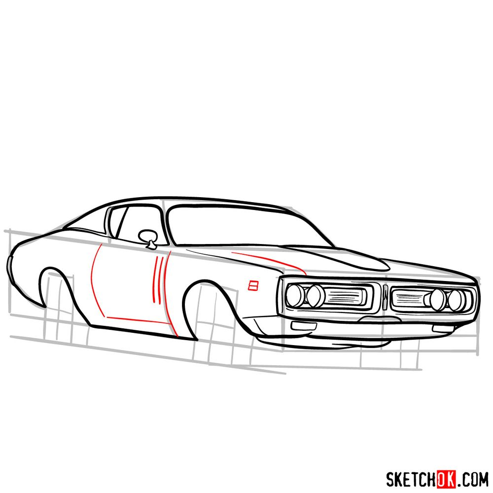 How to draw Dodge Charger RT L69 (1971) - step 11