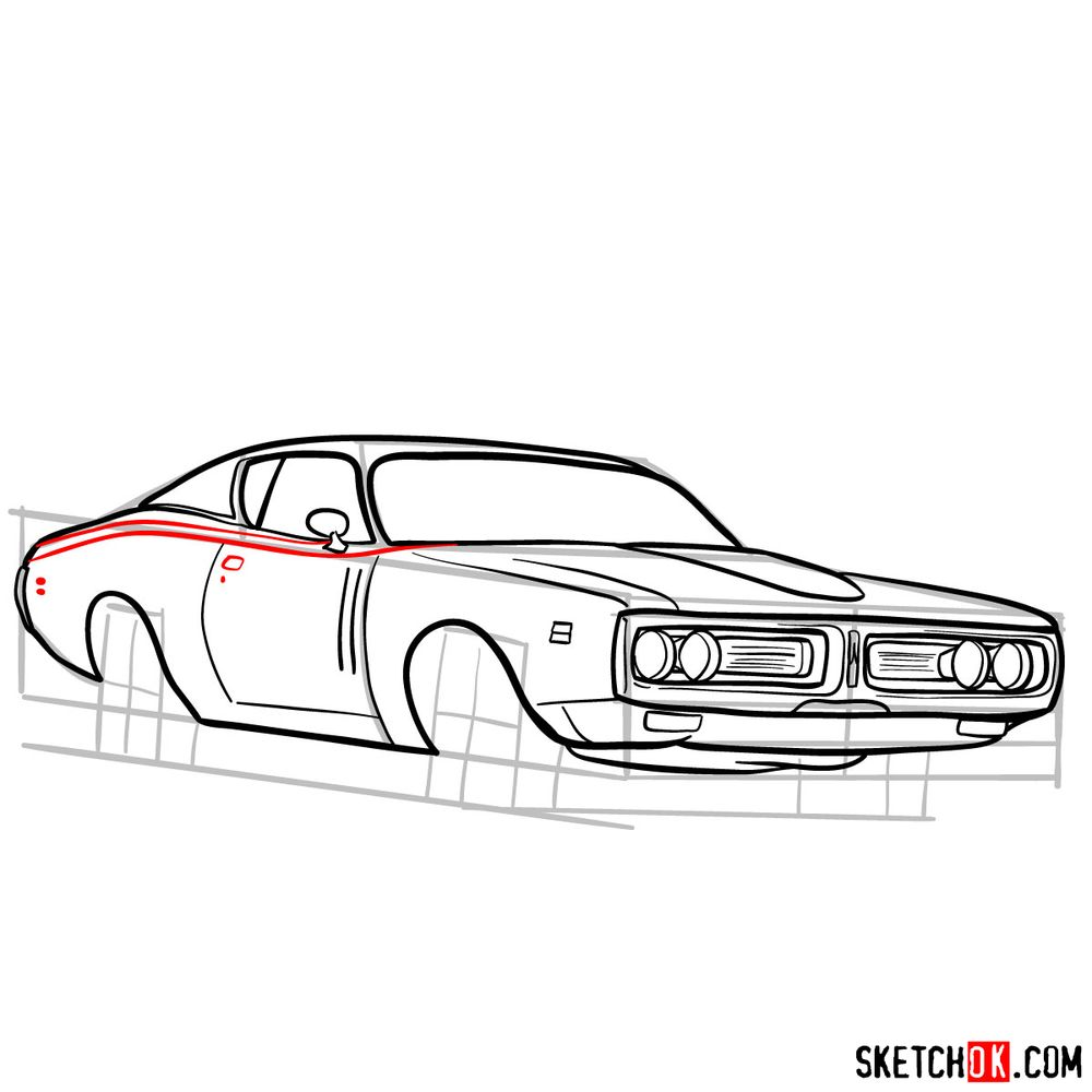 How to draw Dodge Charger RT L69 (1971) - step 12