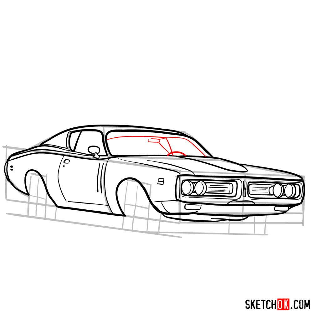 How to draw Dodge Charger RT L69 (1971) - step 13