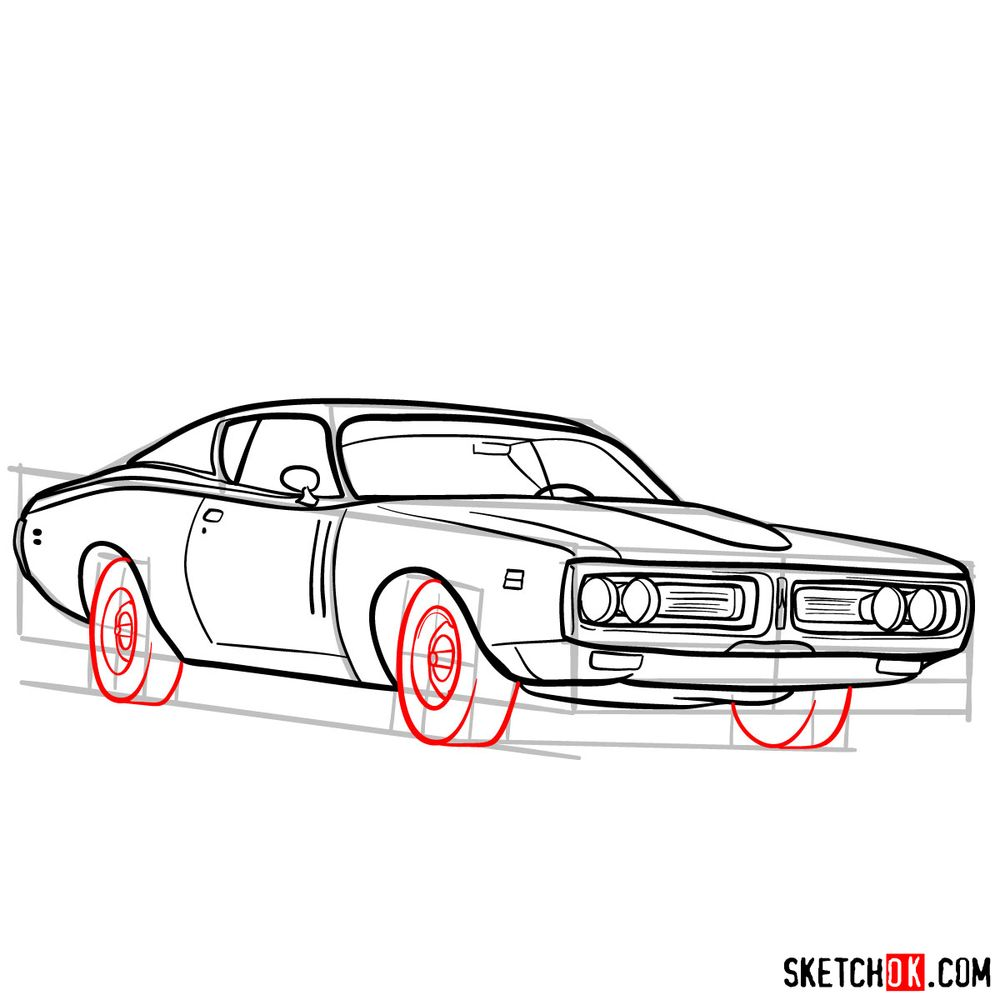 How to draw Dodge Charger RT L69 (1971) - step 14