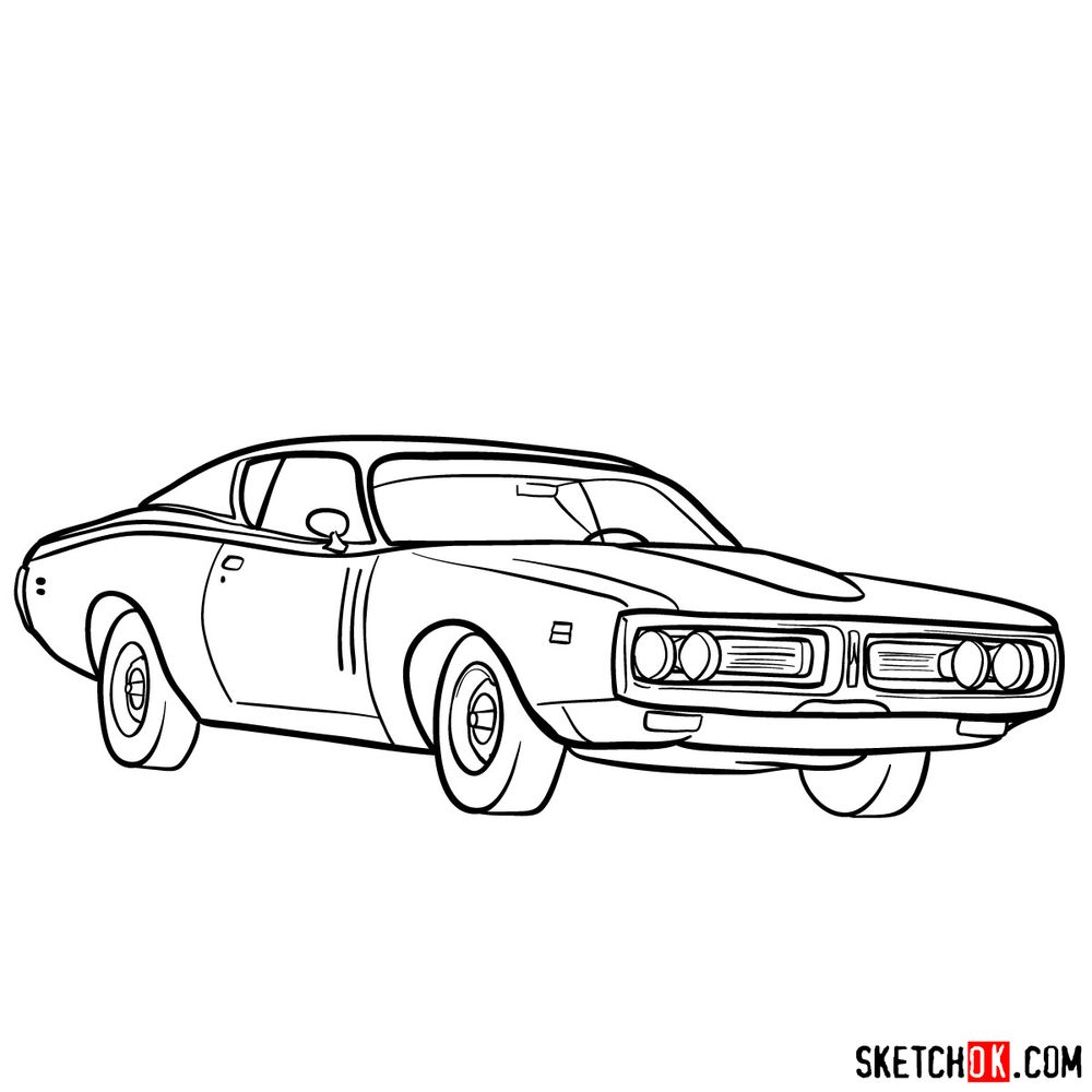 How to draw Dodge Charger RT L69 (1971) - step 15