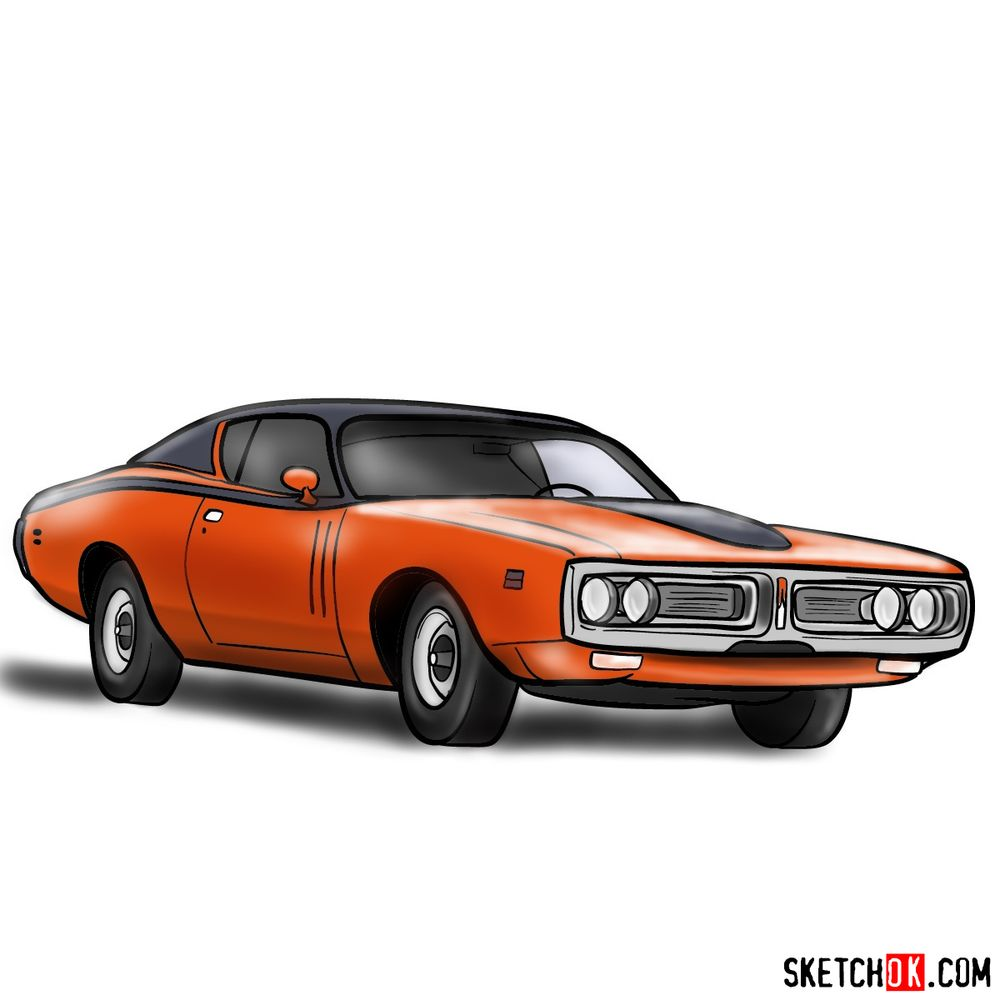 How to draw Dodge Charger RT L69 (1971)