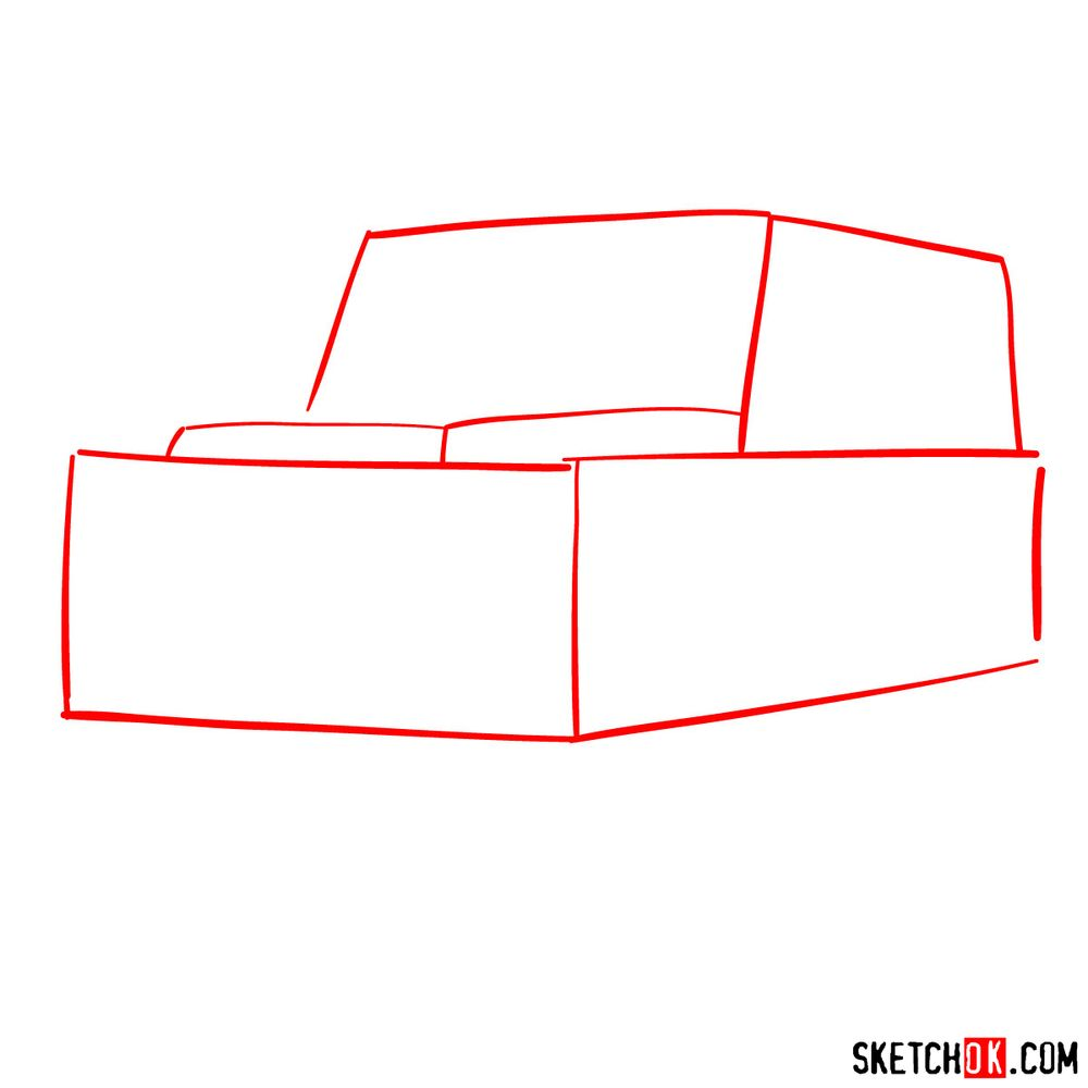 How to draw Land Rover Defender 2.2 - step 01