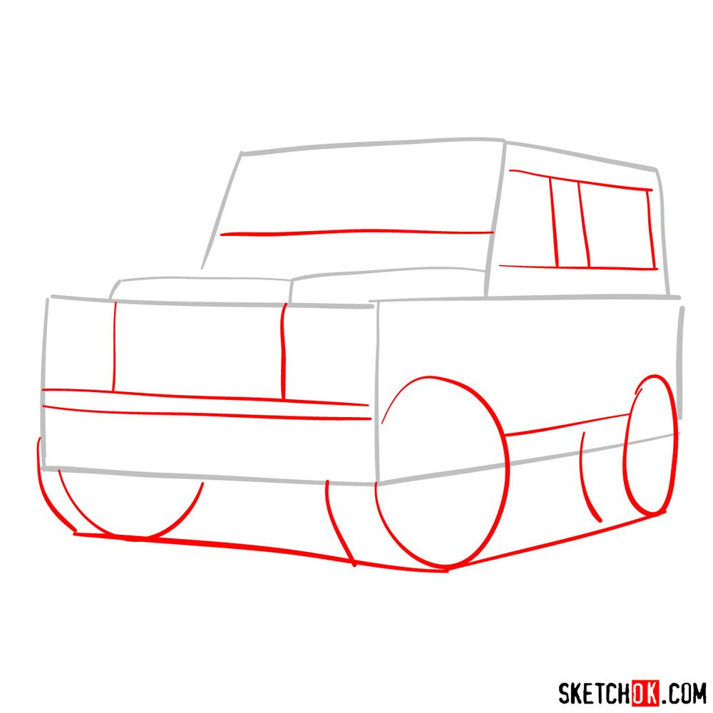 How to draw Land Rover Defender 2.2 - step 02