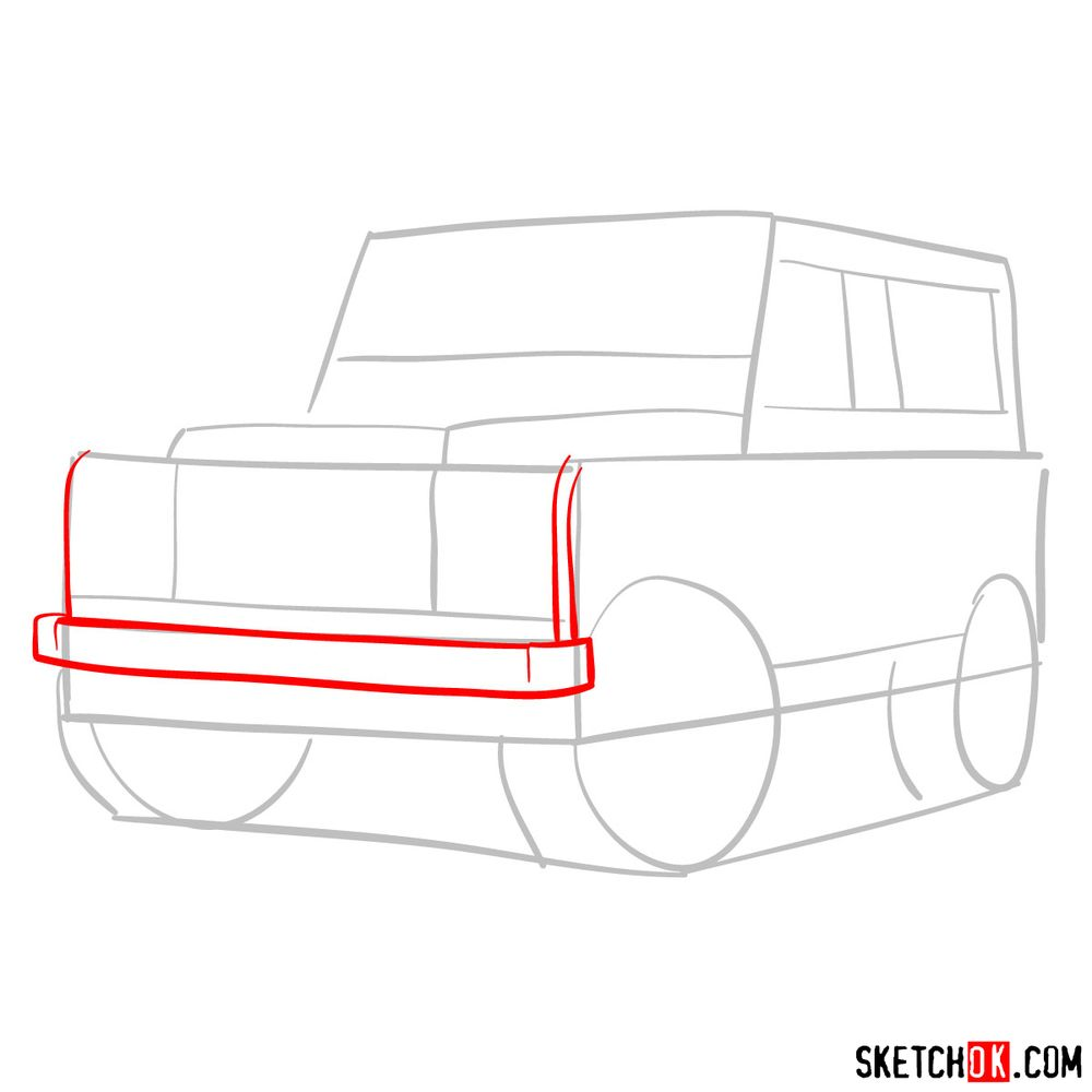 How to draw Land Rover Defender 2.2 - step 03