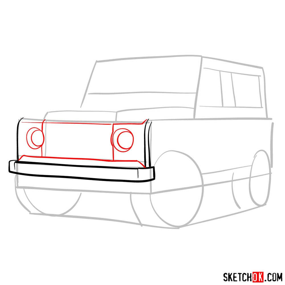 How to draw Land Rover Defender 2.2 - step 04