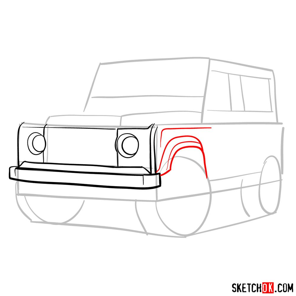 How to draw Land Rover Defender 2.2 - step 05