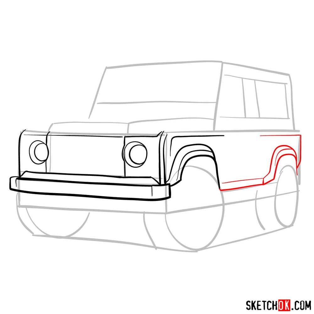 How to draw Land Rover Defender 2.2 - step 06