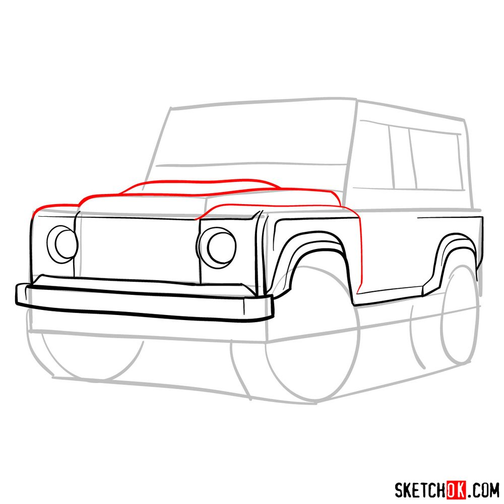How to draw Land Rover Defender 2.2 - step 07
