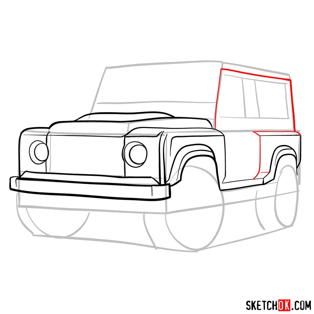 How to draw Land Rover Defender 2.2 - step 08