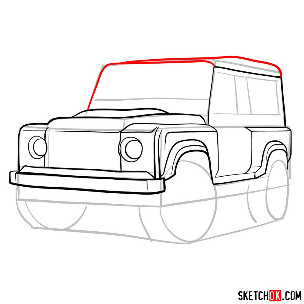 How to draw Land Rover Defender 2.2 - step 09