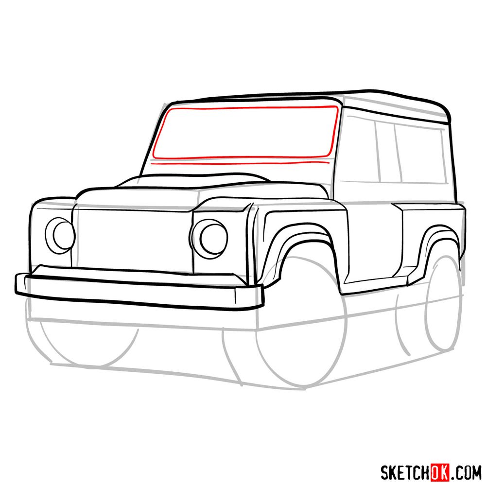 How to draw Land Rover Defender 2.2 - step 10