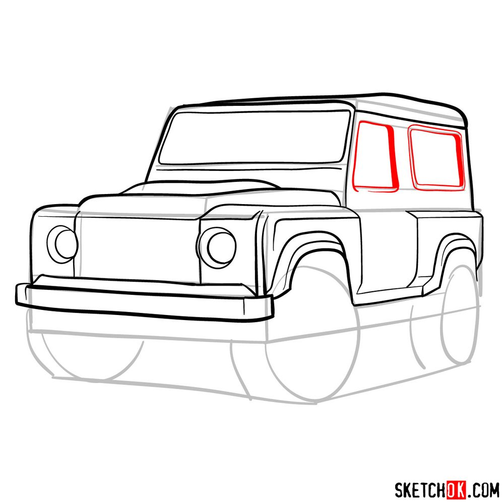 How to draw Land Rover Defender 2.2 - step 11