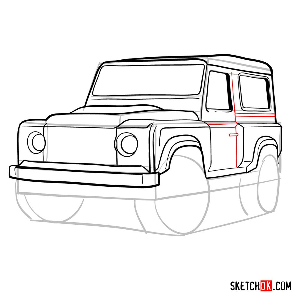 How to draw Land Rover Defender 2.2 - step 12