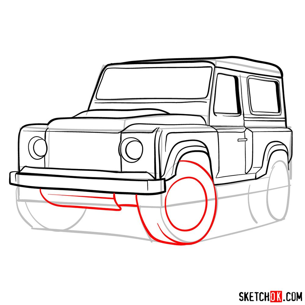 How to draw Land Rover Defender 2.2 - step 13