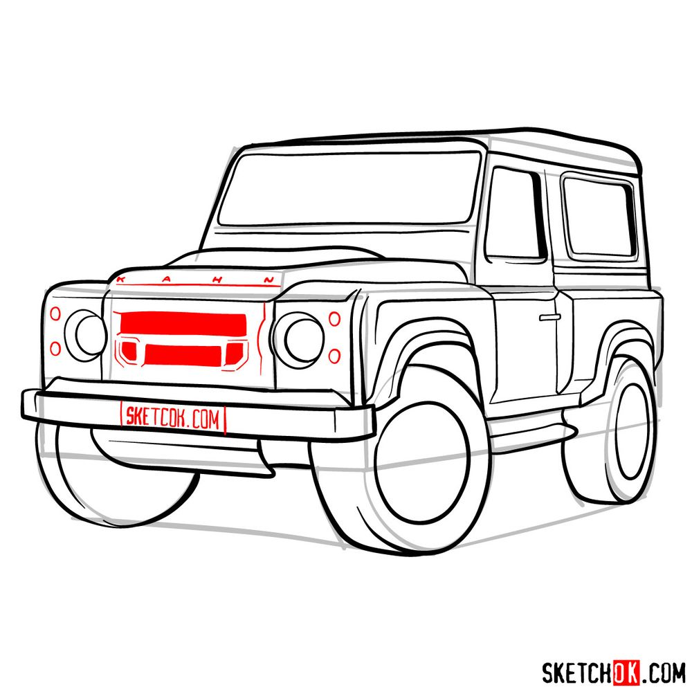 How to draw Land Rover Defender 2.2 - step 15