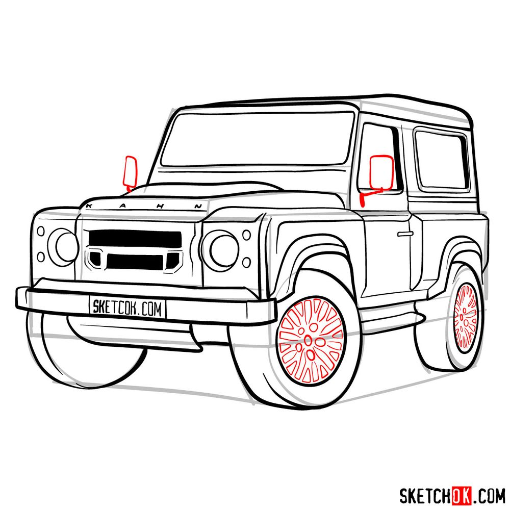 How to draw Land Rover Defender 2.2 - step 16