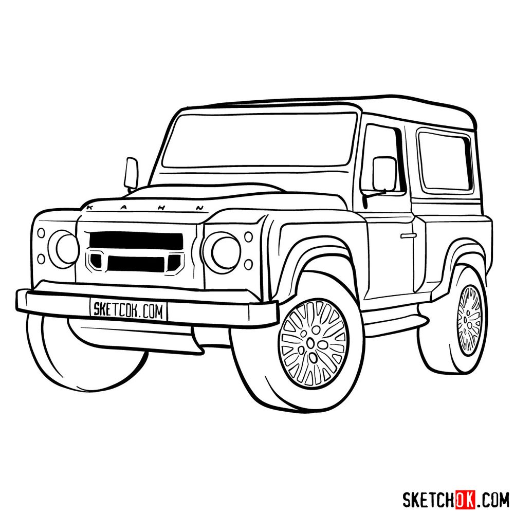 How to draw Land Rover Defender 2.2 - step 17