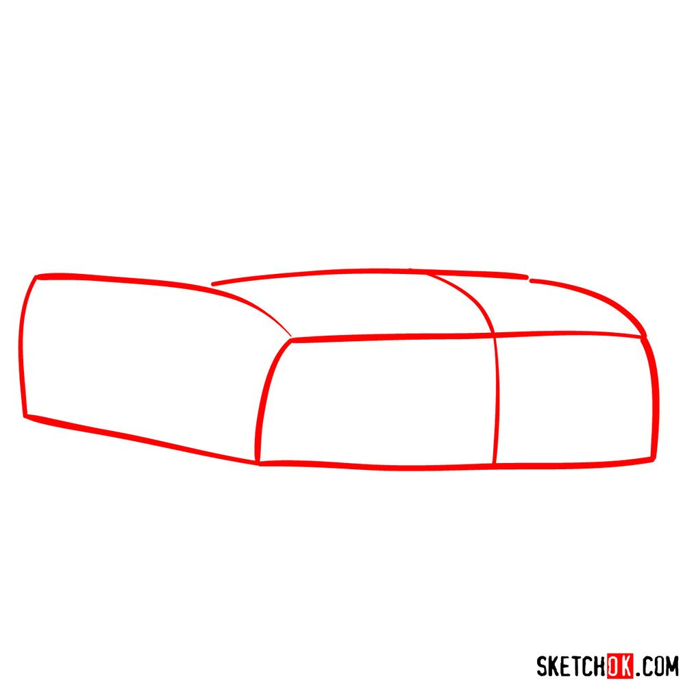 How to draw Shelby GT500 Ford Mustang 2009 - step 01