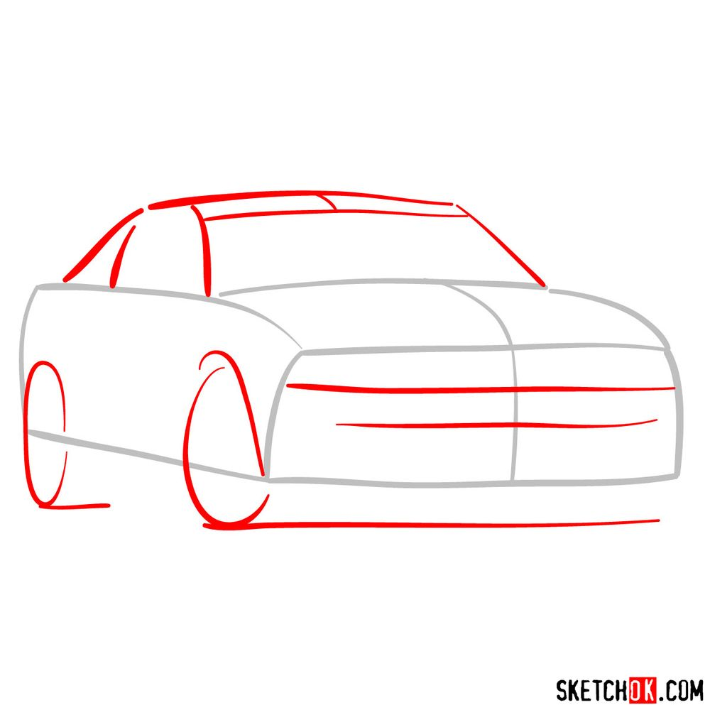 How to draw Shelby GT500 Ford Mustang 2009 - step 02