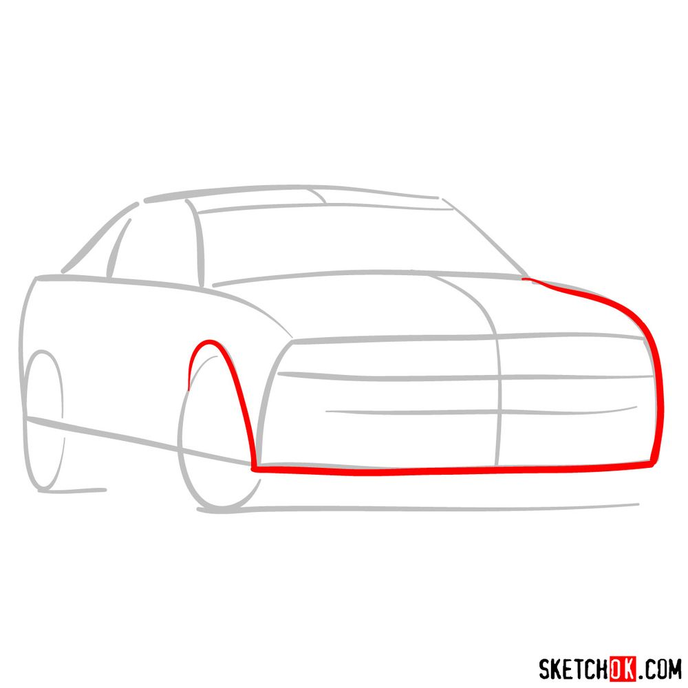 How to draw Shelby GT500 Ford Mustang 2009 - step 03