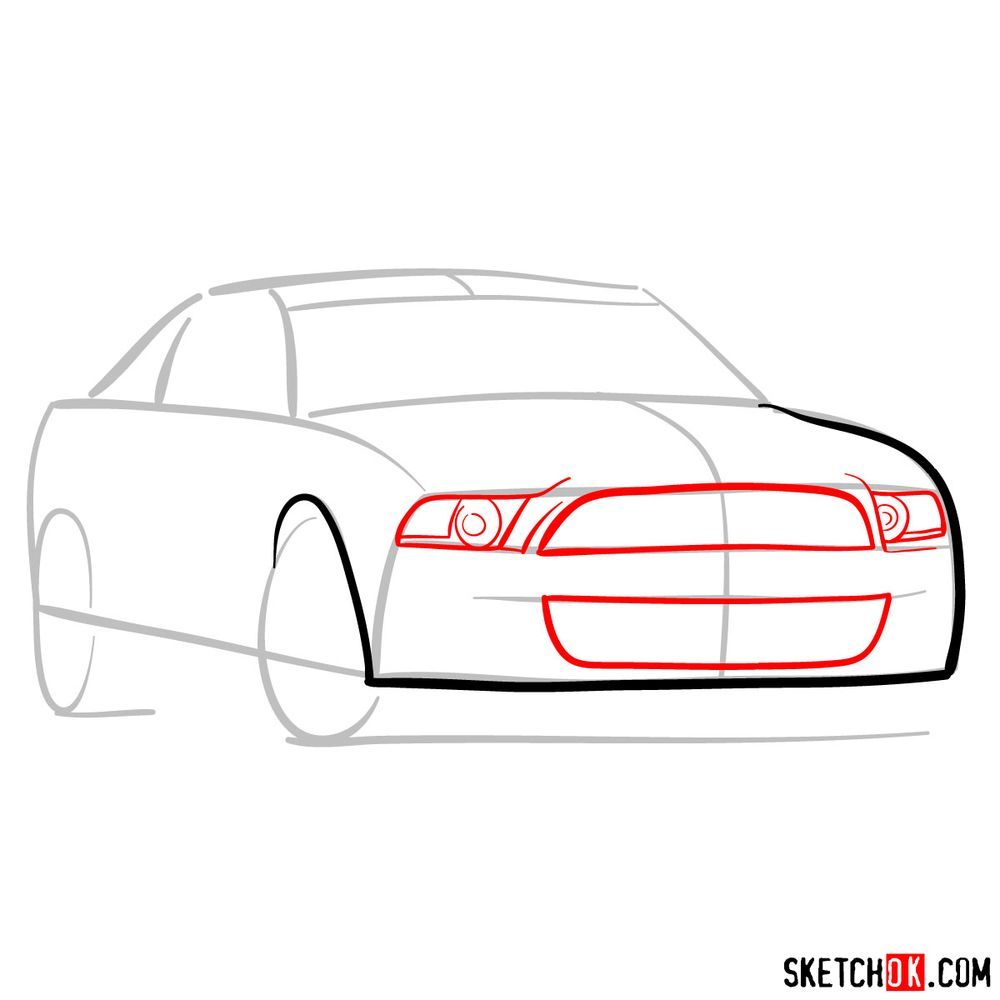 How to draw Shelby GT500 Ford Mustang 2009 - step 04