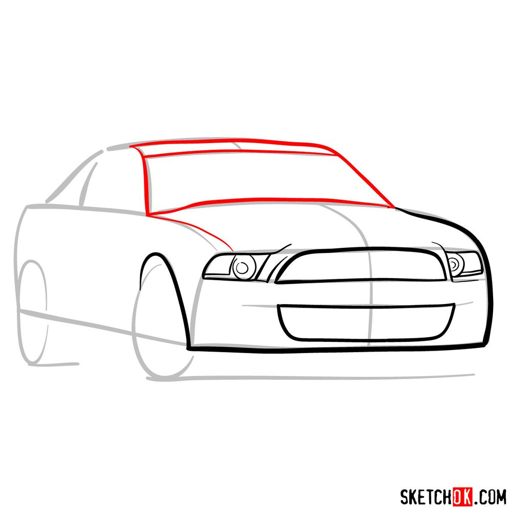 How to draw Shelby GT500 Ford Mustang 2009 - step 05