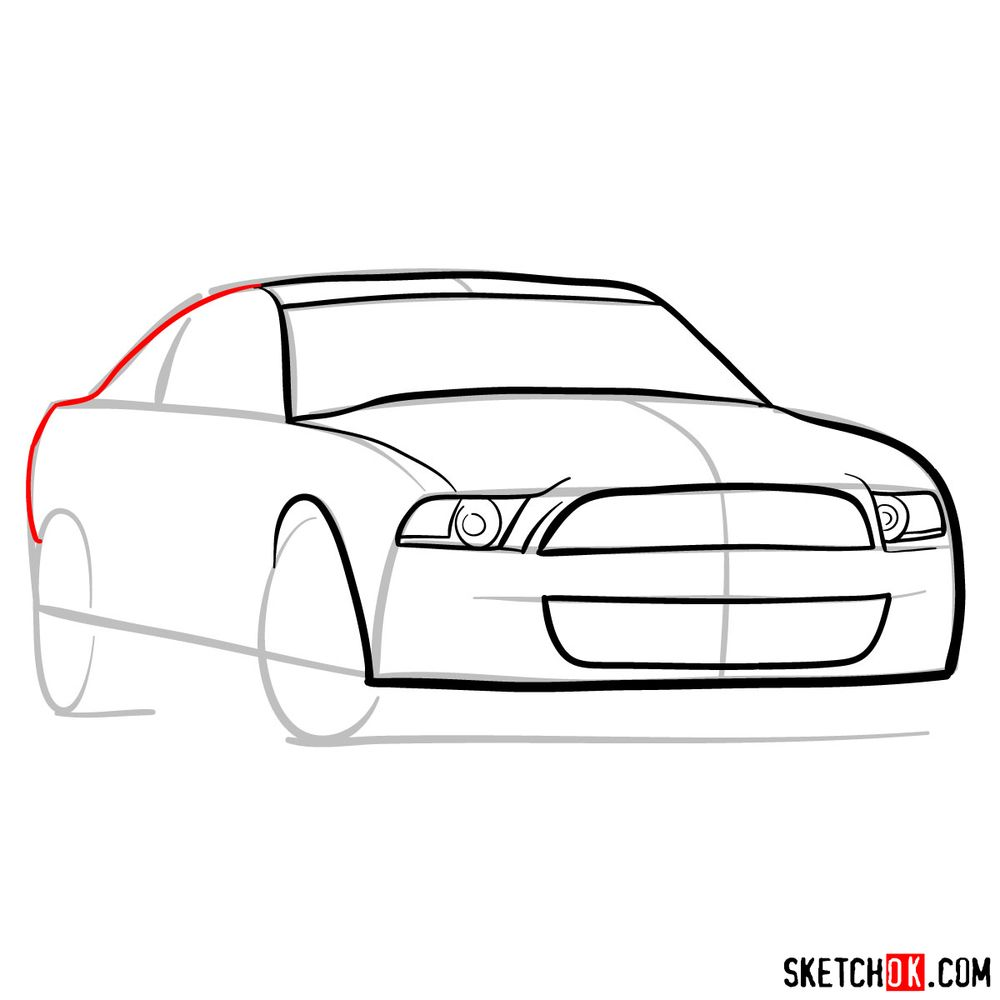 How to draw Shelby GT500 Ford Mustang 2009 - step 06