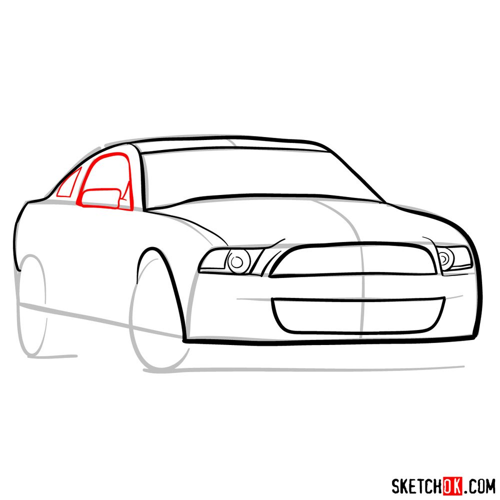 How to draw Shelby GT500 Ford Mustang 2009 - step 07