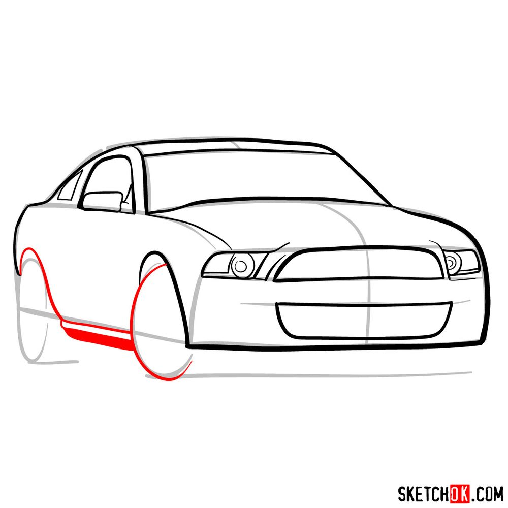 How to draw Shelby GT500 Ford Mustang 2009 - step 08