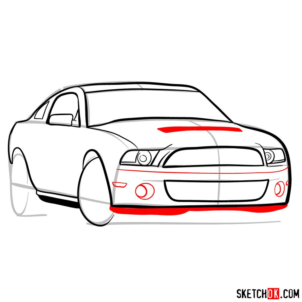 How to draw Shelby GT500 Ford Mustang 2009 - step 09