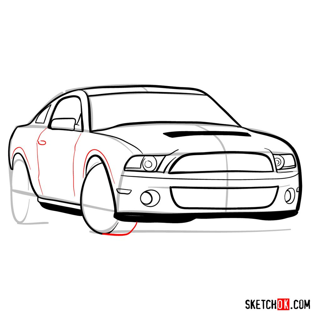How to draw Shelby GT500 Ford Mustang 2009 - step 10